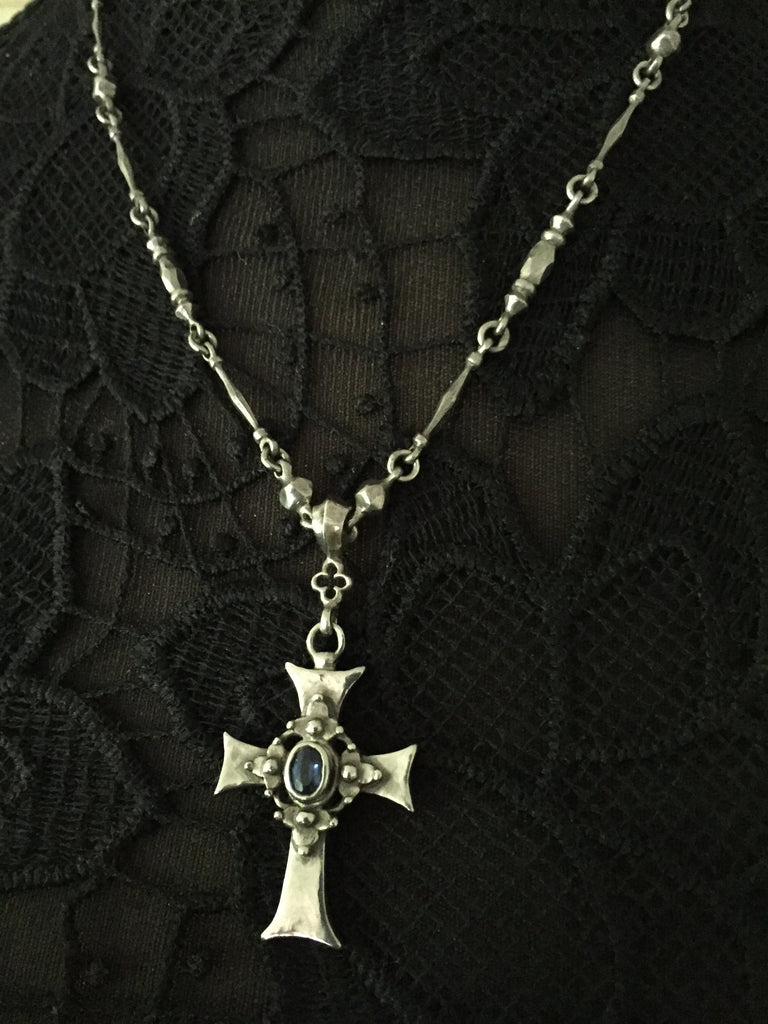 Necklace - Gothic Iolite Cross by Roman Paul