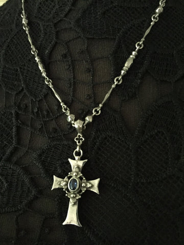 Necklace - Gothic Sapphire Cross