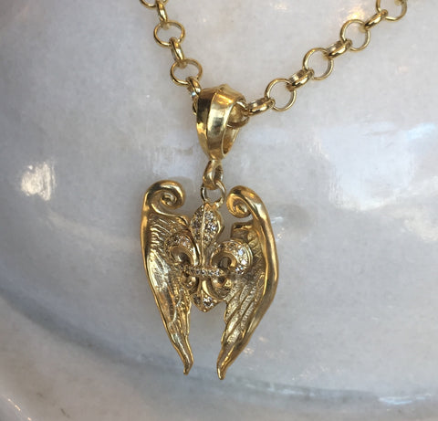 Necklace - Golden Fleur de Lis with Angel Wings