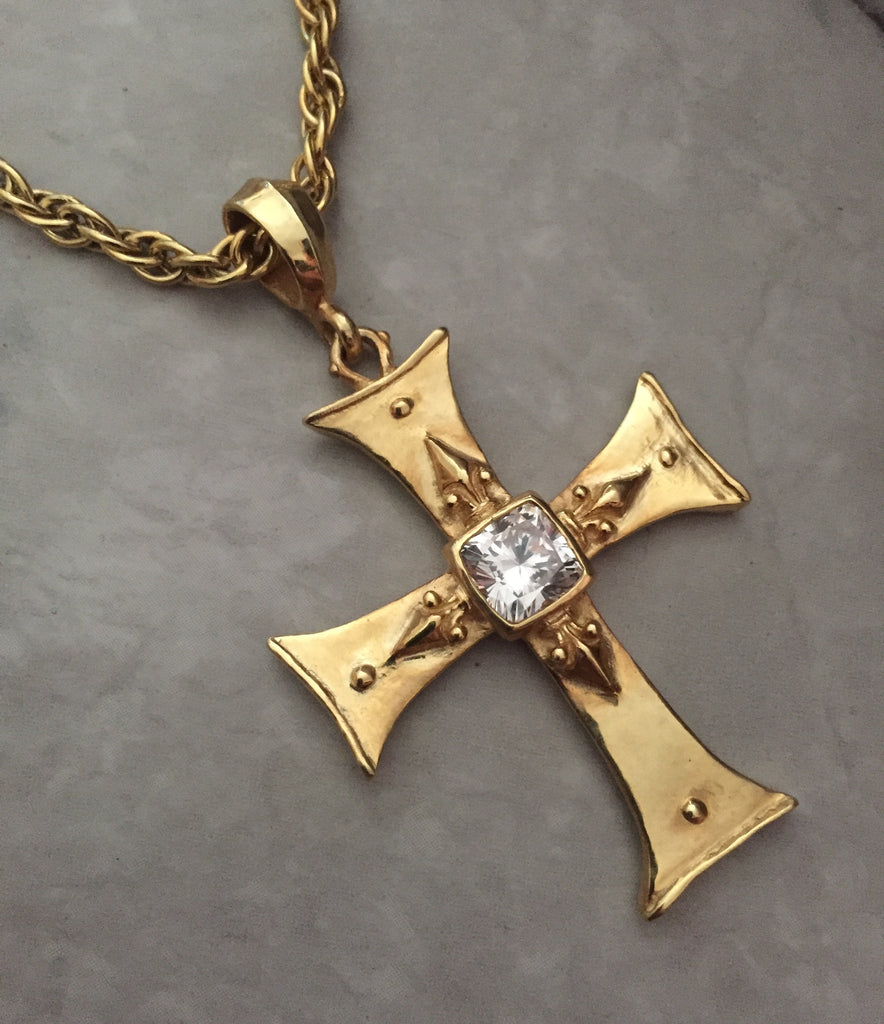 Necklace - Golden Cross with CZ by Roman Paul