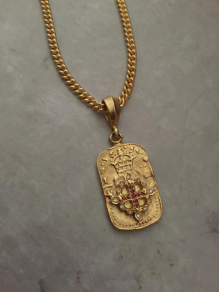 Necklace - Golden Fleur de Lis Dog Tag with Rubies