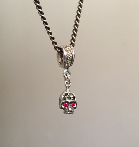 Necklace - Ruby Eye & Black Diamon Skull
