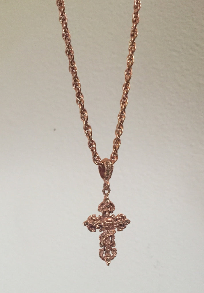 Necklace - Rose gold Silver Knight Cross by Roman Paul