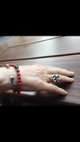 Bracelet - Red Coral & Onyx with Silver Roundels