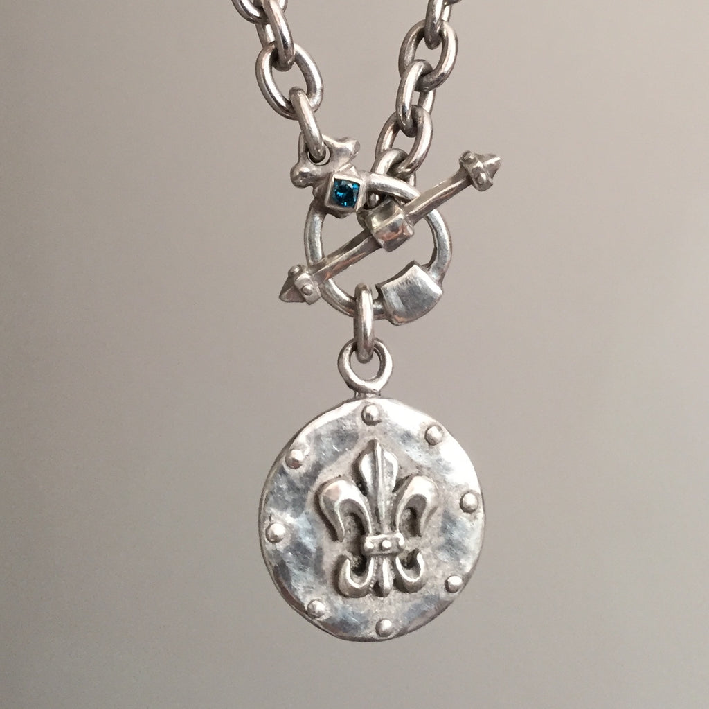 Necklace - Fleur De LIs Knight & Blue Diamond by Roman Paul