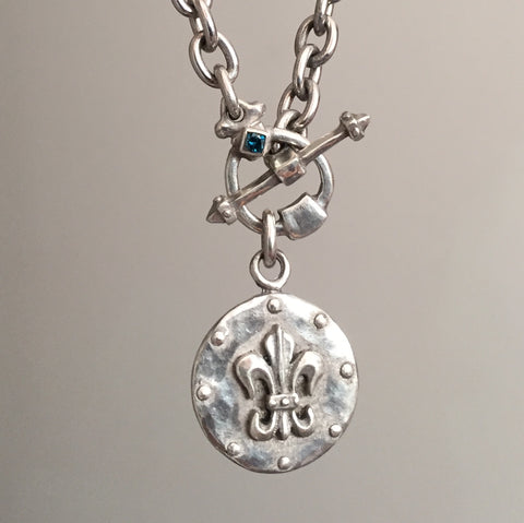 Necklace - Fleur De LIs Knight & Blue Diamond