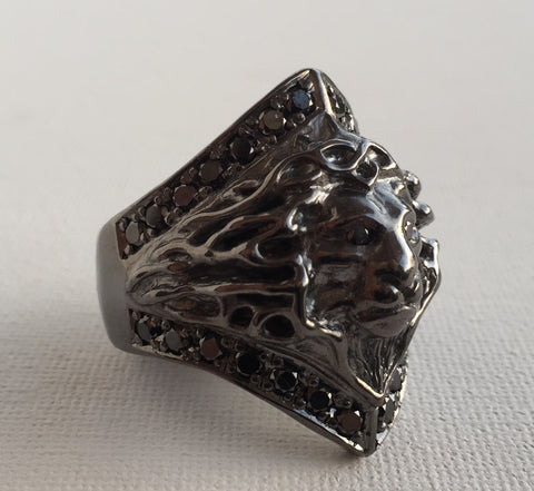 Ring - Lion Ring & Black Diamonds