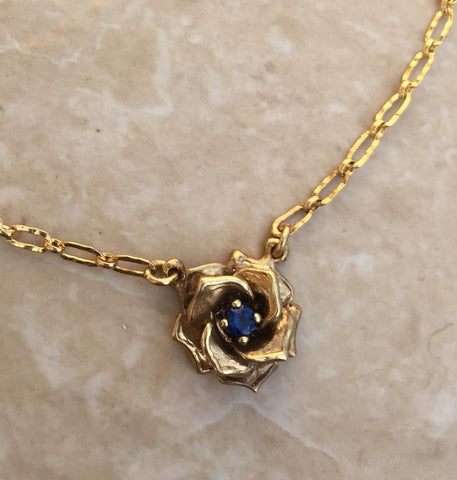 Necklace - Golden Rose with Sapphire