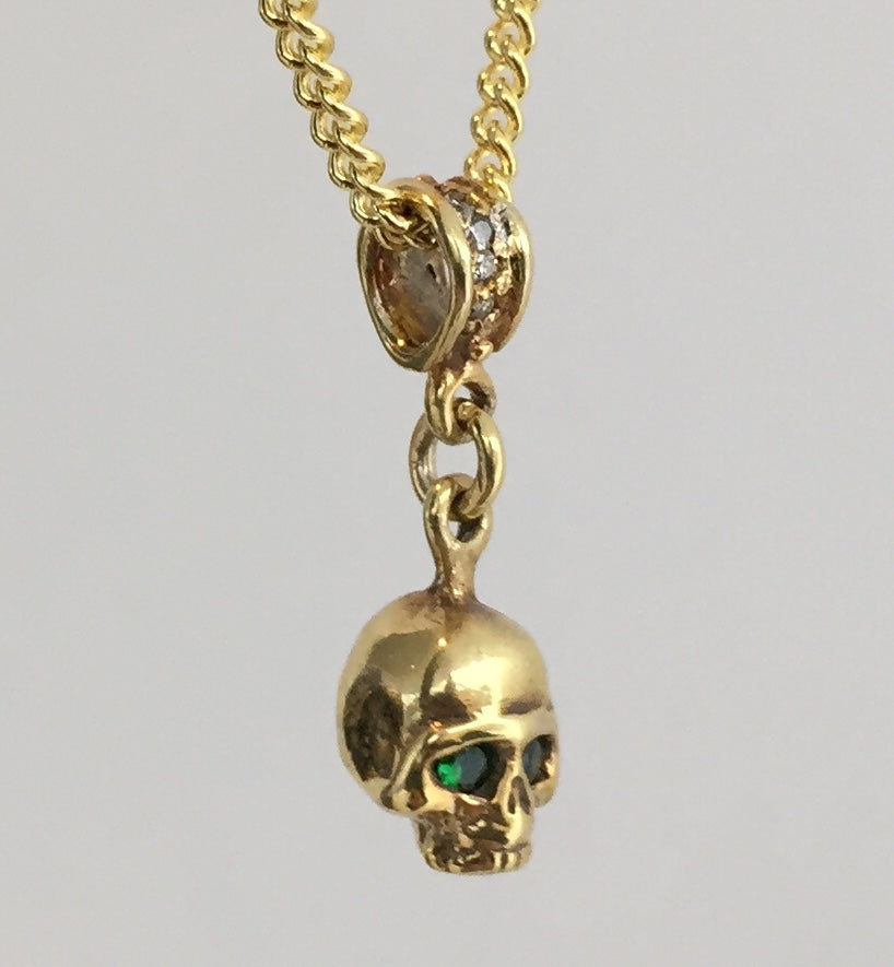 Necklace - Golden Skull with Emeralds by Roman Paul