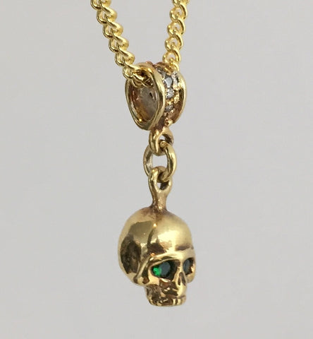 Necklace - Golden Skull with Emeralds
