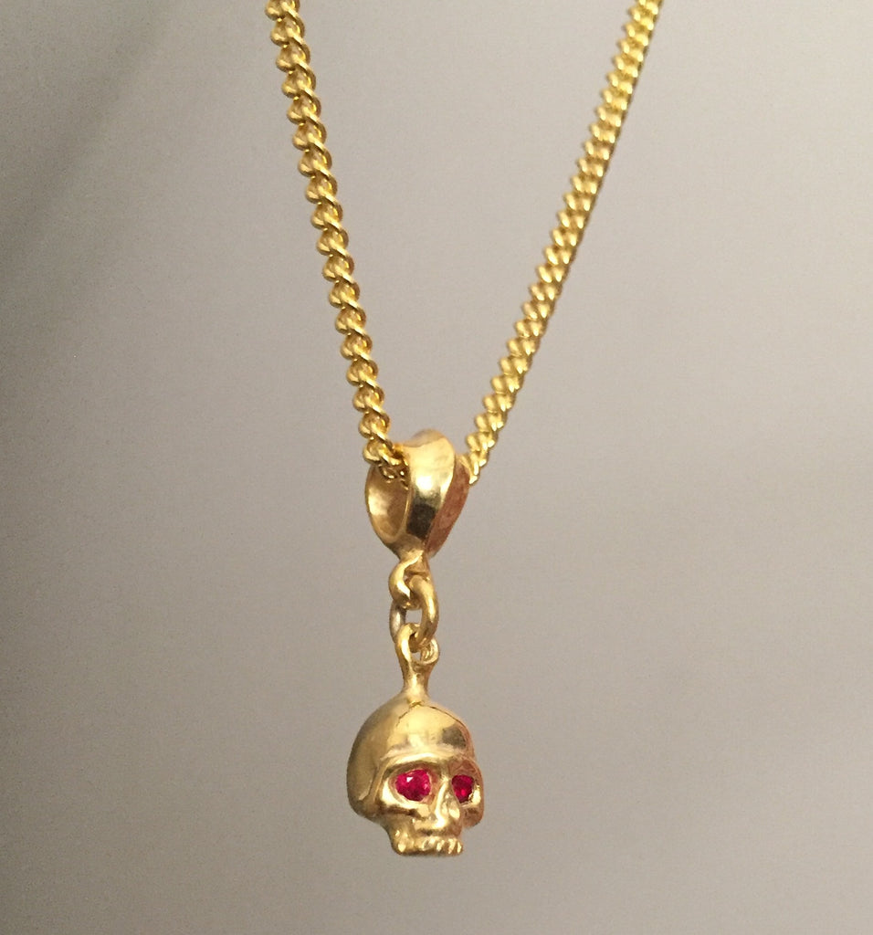 Necklace - Golden Skull w Rubies by Roman Paul
