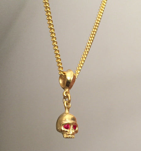 Necklace - Golden Skull w Rubies