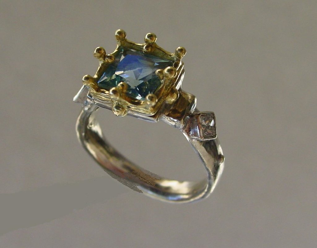 Gold Gothic Ring Aquamarine & White Diamonds