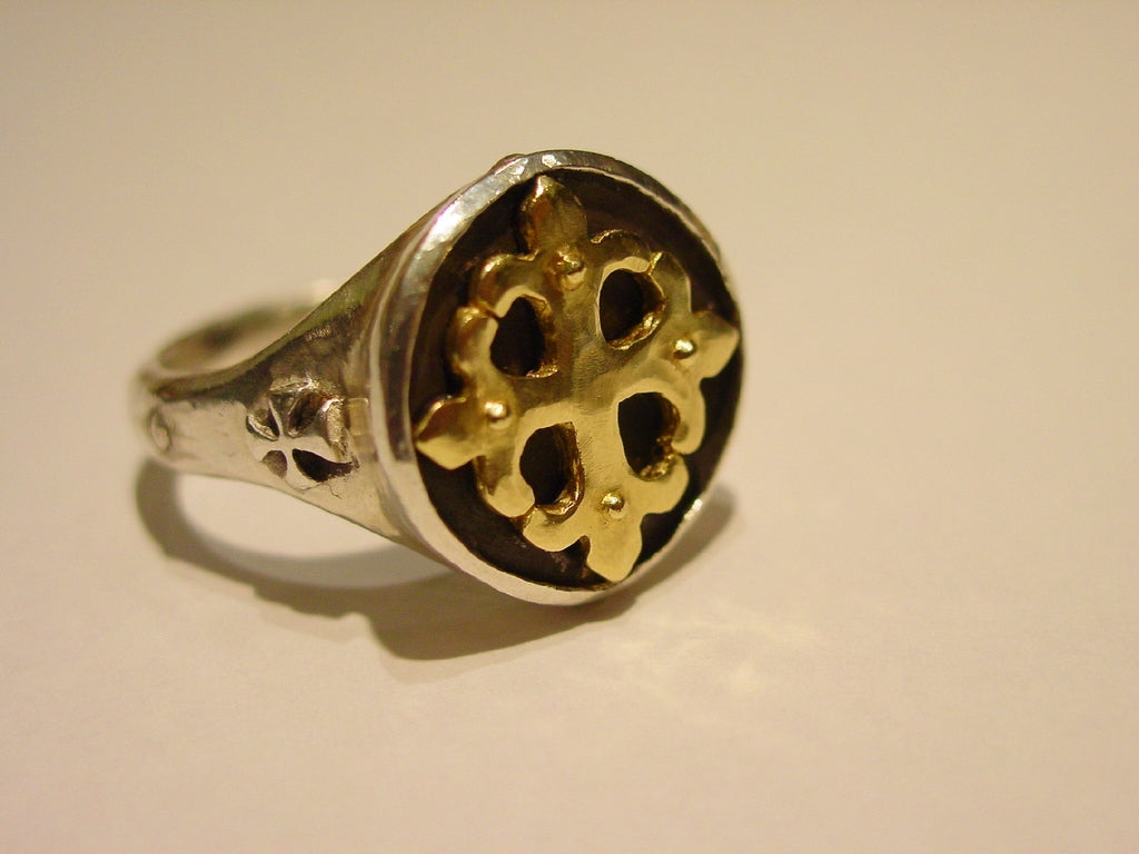 Gold 18k Fleur De Lis Cross Silver Ring
