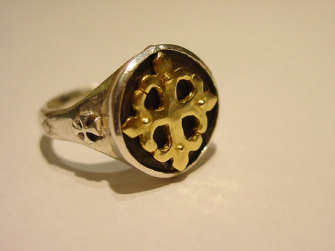 Ring - Fleur De Lis Gold Cross & Sterling Silver