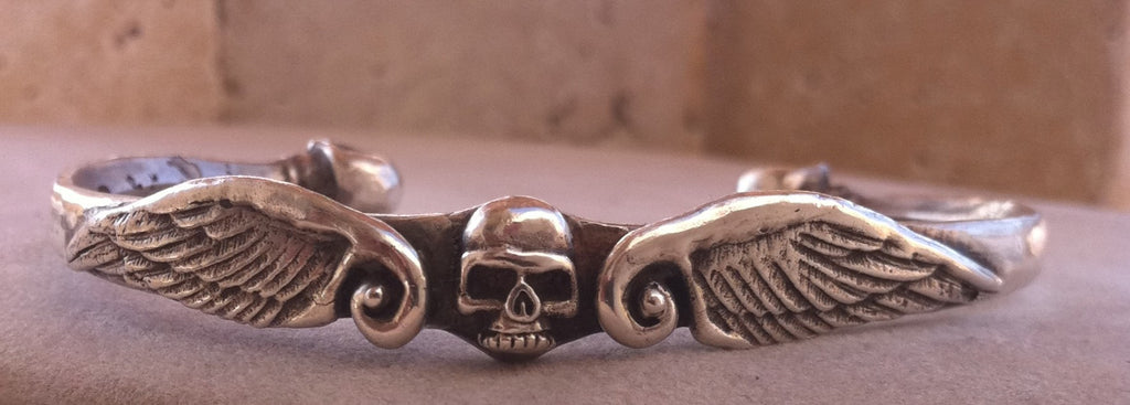 Sterling Silver Skull & Wing Cuff