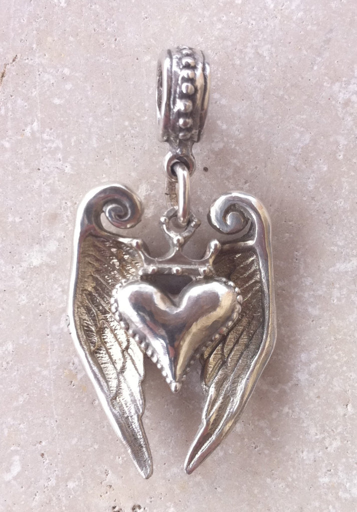 Sterling Silver Crowned Heart with Angel Wings