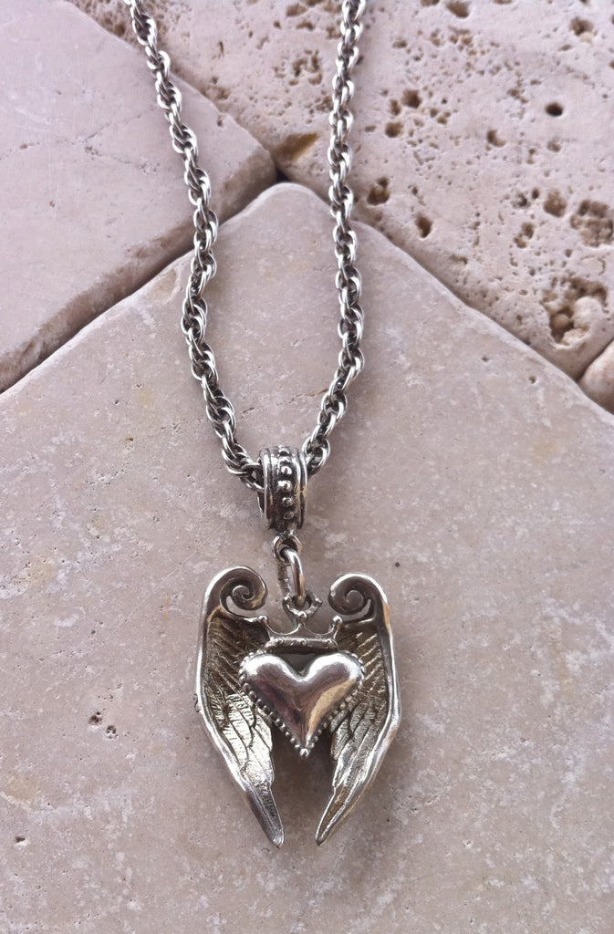 Sterling Silver Crowned Heart with Angel Wings Necklace