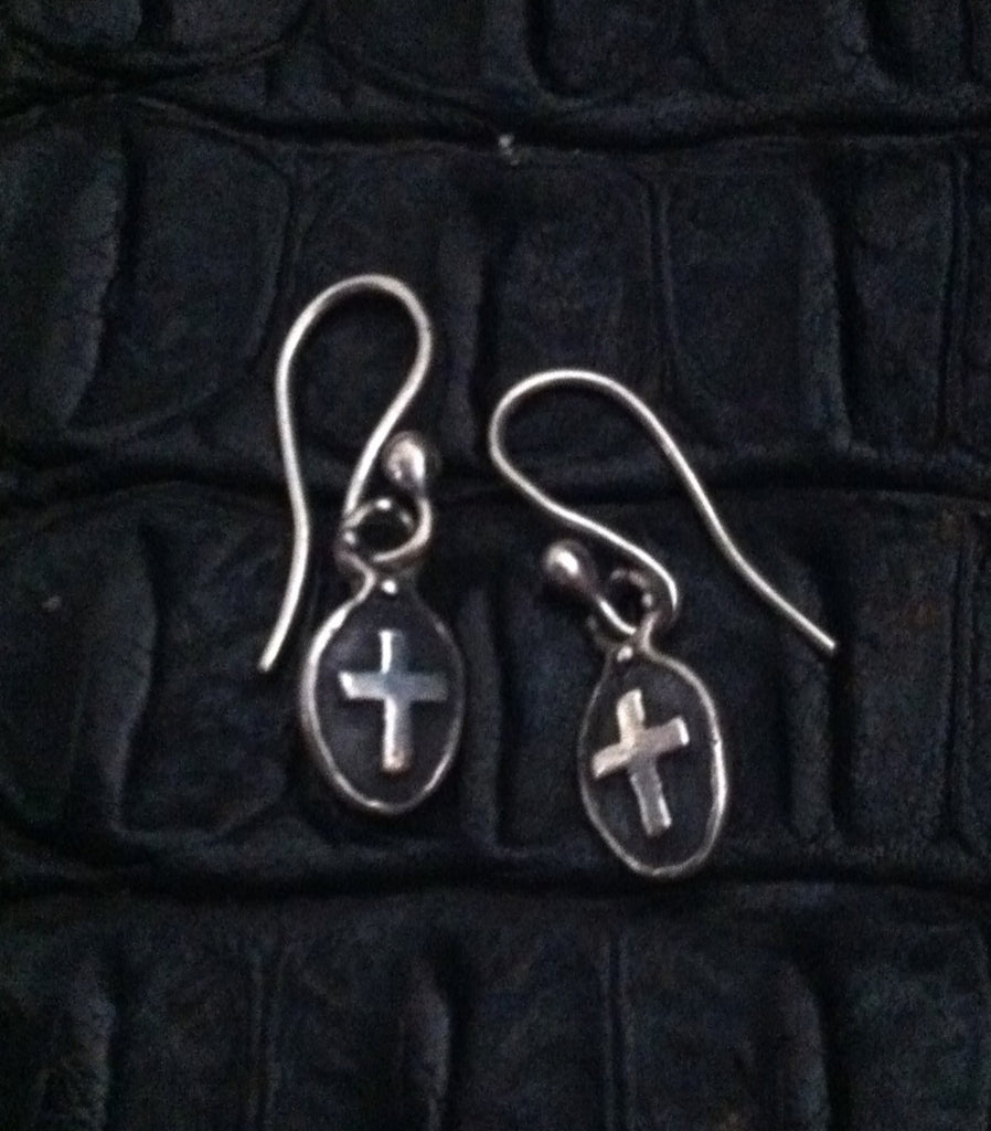 Sterling Silver Oval Frame Cross Hook Earrings