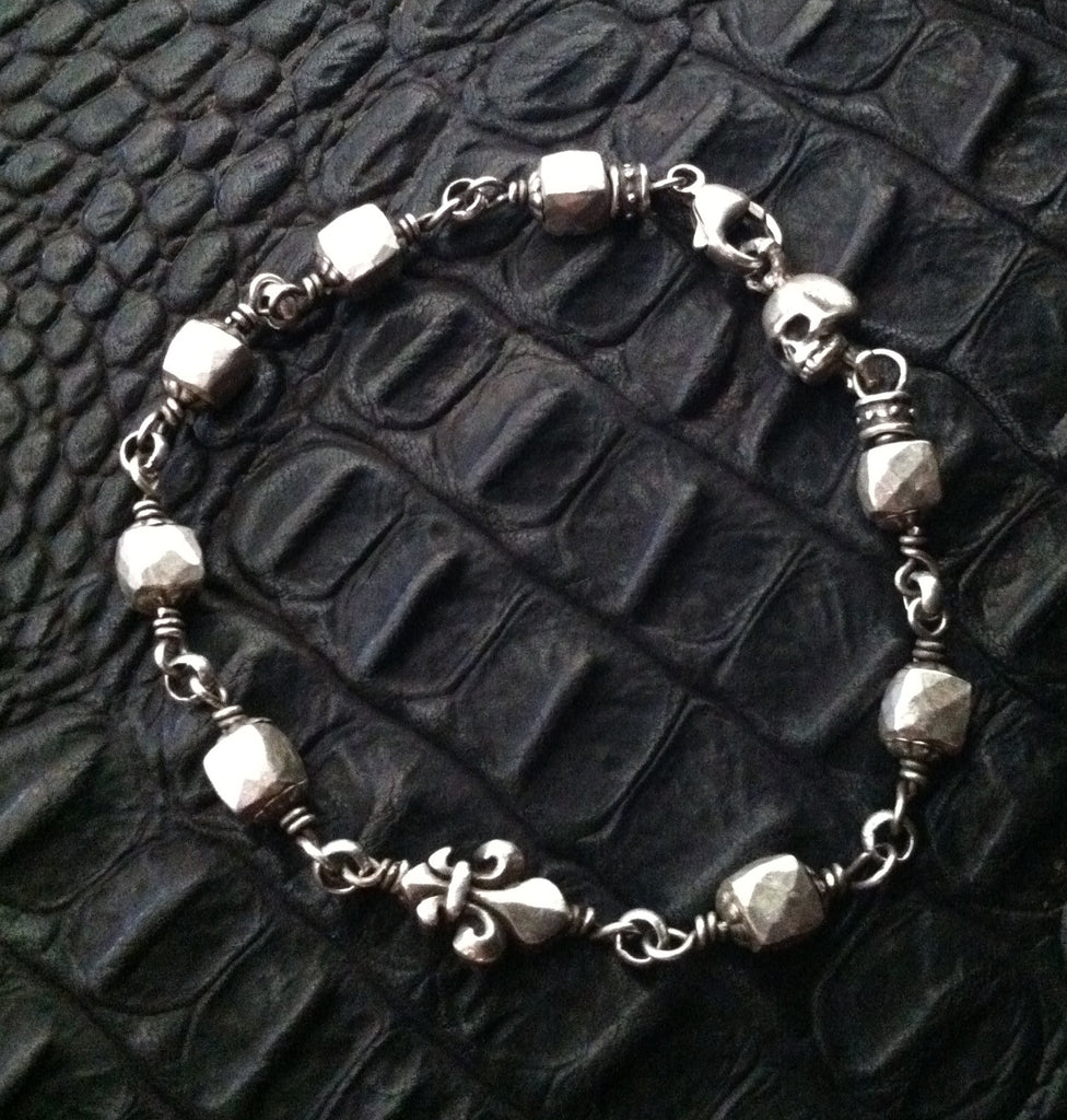 Sterling Silver Skull & Fleur De Lis with Solid Silver Faceted Beads Bracelet