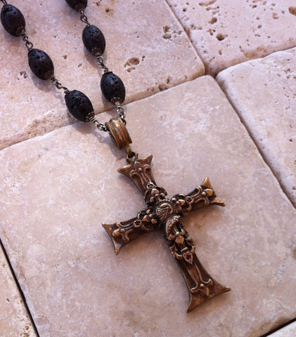 Cross Necklace Bronze Fleur De Lis