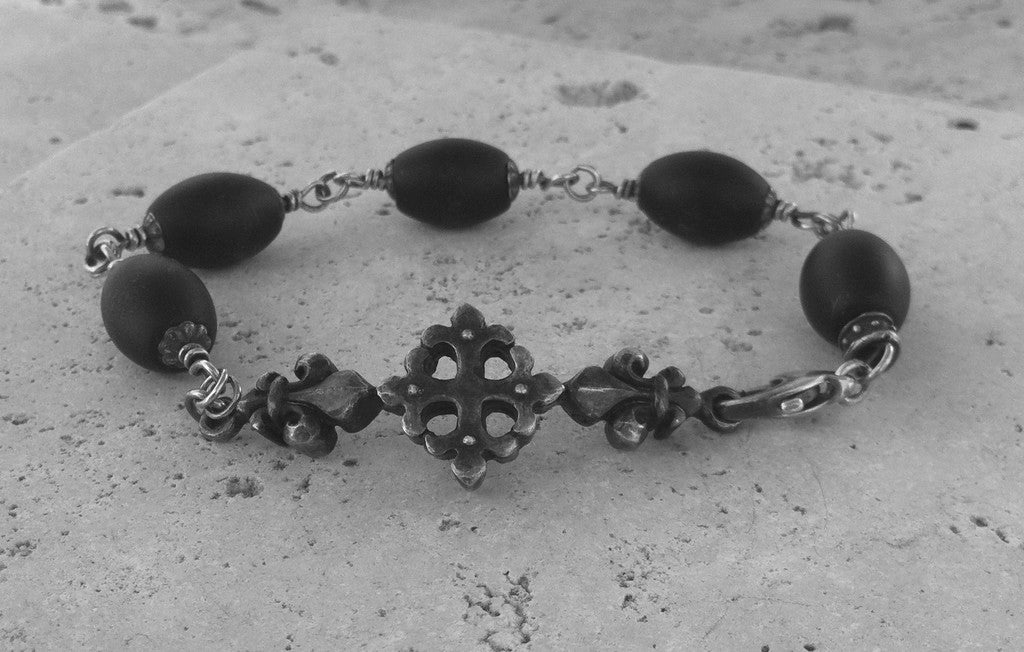 Sterling Sliver Cross Fleur De Lis Bracelet with Oval Onyx Beads