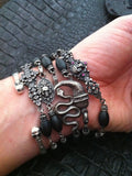 Sterling Silver Dark Antiqued Serpent & Skull Bracelet with Oval Onyx Beads