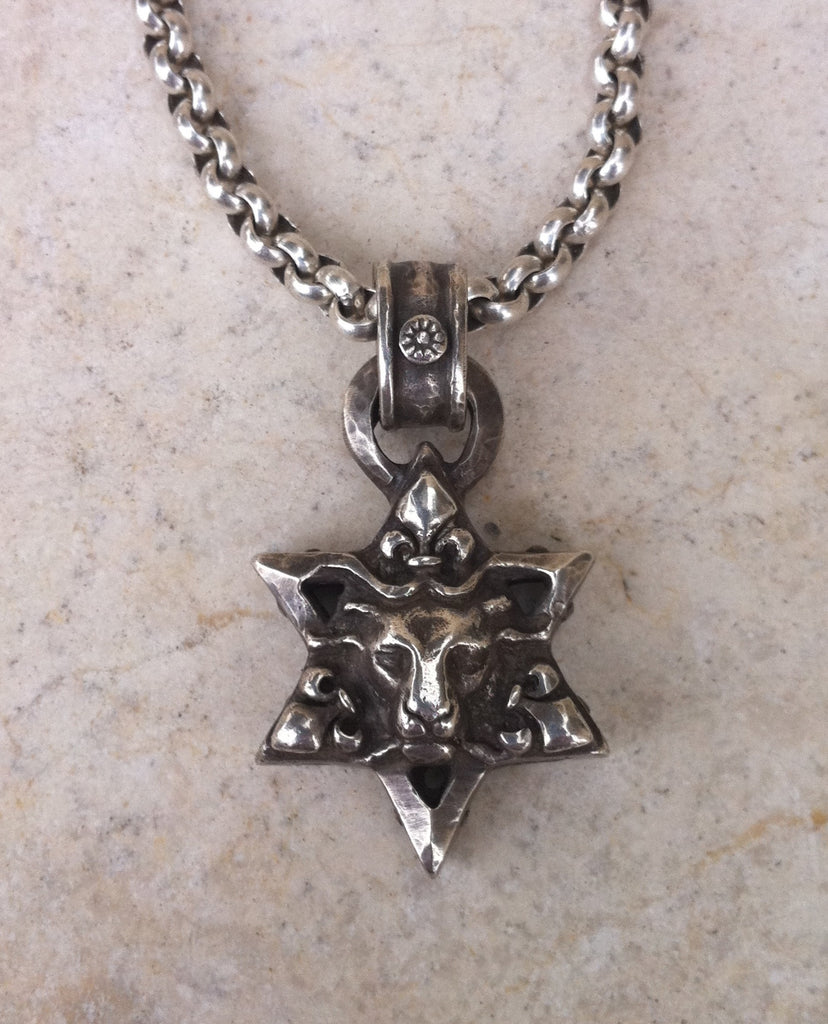 Sterling Silver Star of David Lion Head Necklace