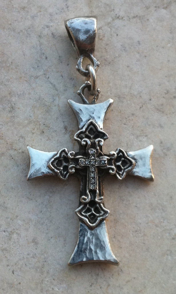 Sterling Silver Layered Cross with White Micro Diamond Pave Pendant