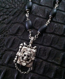 Sterling Silver Skull Diamond Pave Locket with Oval Onyx Beads
