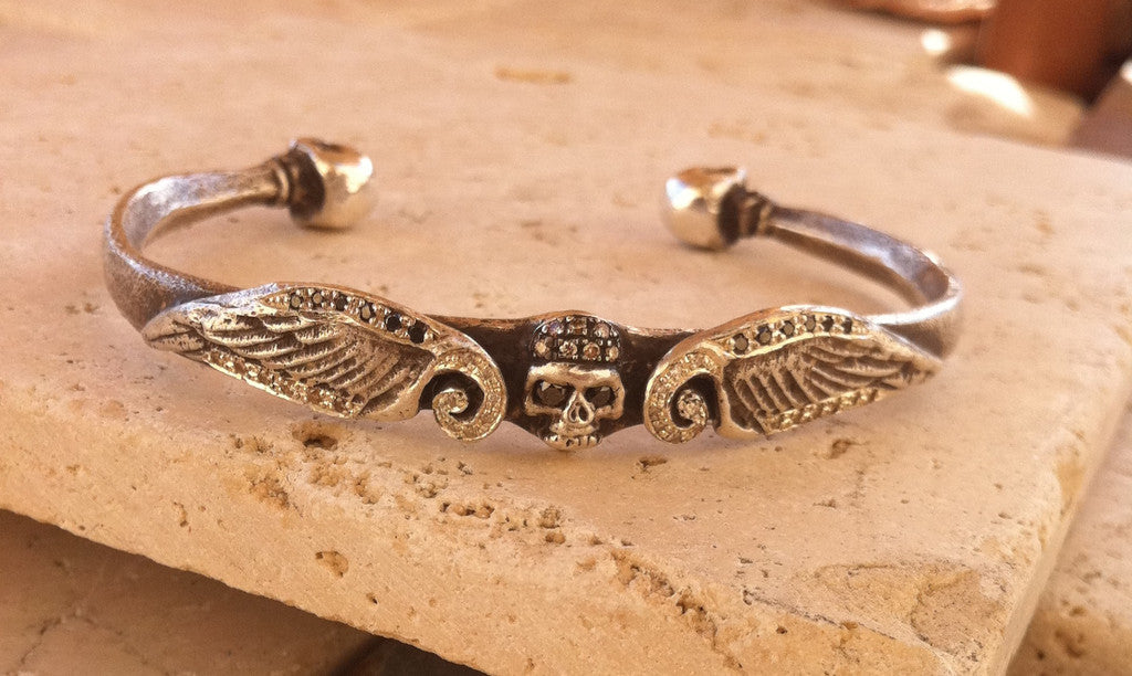 Sterling Silver Diamond Pave Three Skull Cuff with Wings