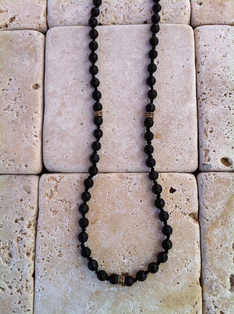 Necklace - Onyx Beads with Bronze Rondels