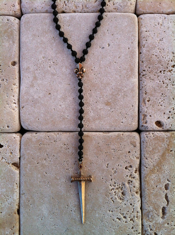 Necklace - Bronze Sword Fleur De Lis Onyx Beads
