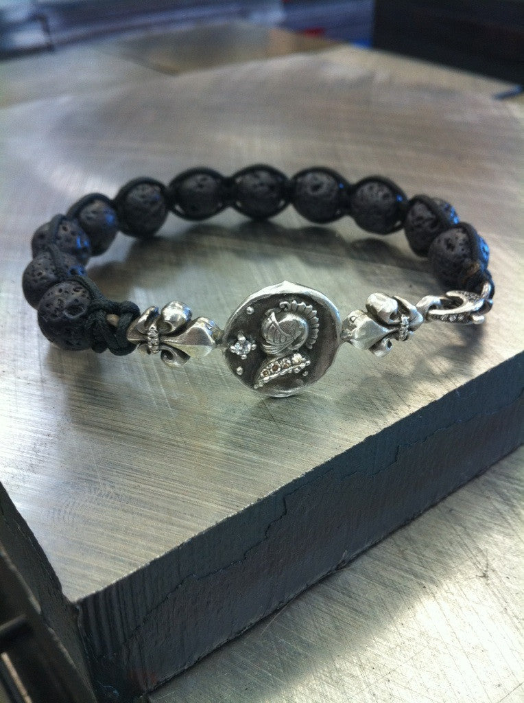 Sterling Silver Knight Helmet Profile Fluer De Lis Bar Bracelet Diamond Pave with Lava Beads
