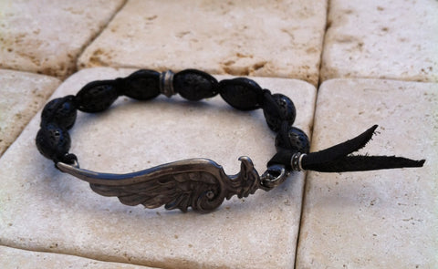 Bracelet - Sterling Silver Eagle Head & Wing