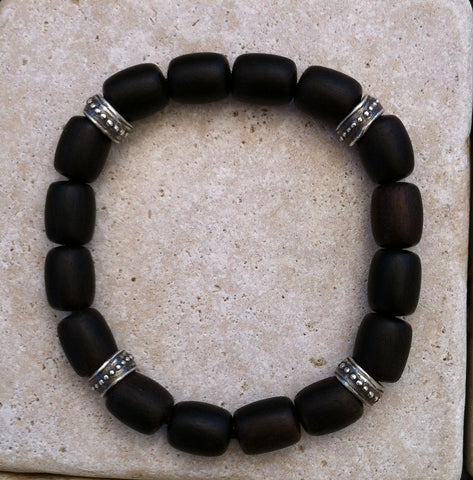 Bracelet - Ebony Wood Beads with Sterling Silver