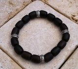 Ebony Wood Beads Sterling Silver Bracelet by Roman Paul