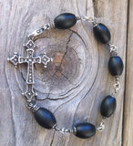 Sterling Silver Cross with Diamond Pave & Onyx Beads