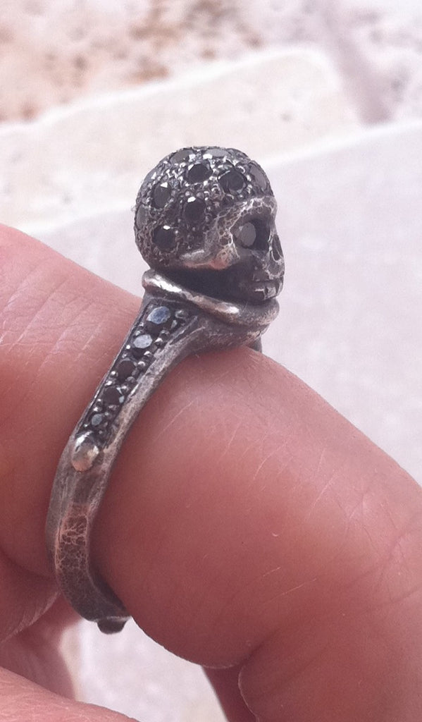 Silver Skull Ring with Black Diamond Pave by Roman Paul