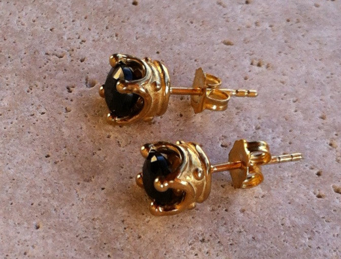 Gold Plated Silver Crown Earrings