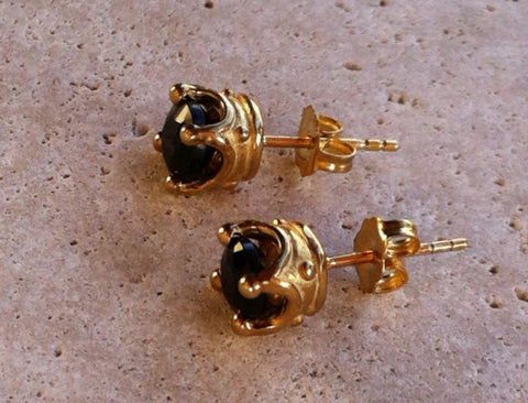Earrings Gold Finish Silver Crown Studs