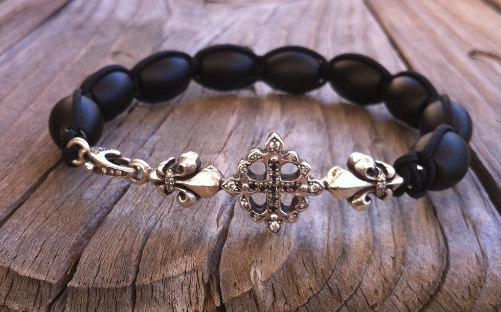 Sterling Silver Cross Fleur De Lis Bar Bracelet with Diamond Pave & Onyx Beads