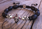 Sterling Silver Jester Hat Skull Fluer De Lis Bar Bracelet Diamond & Ruby Pave with Oval Onyx Beads