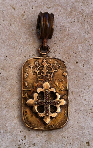 Pendant - Bronze Fleur De Lis Dog Tag Cross