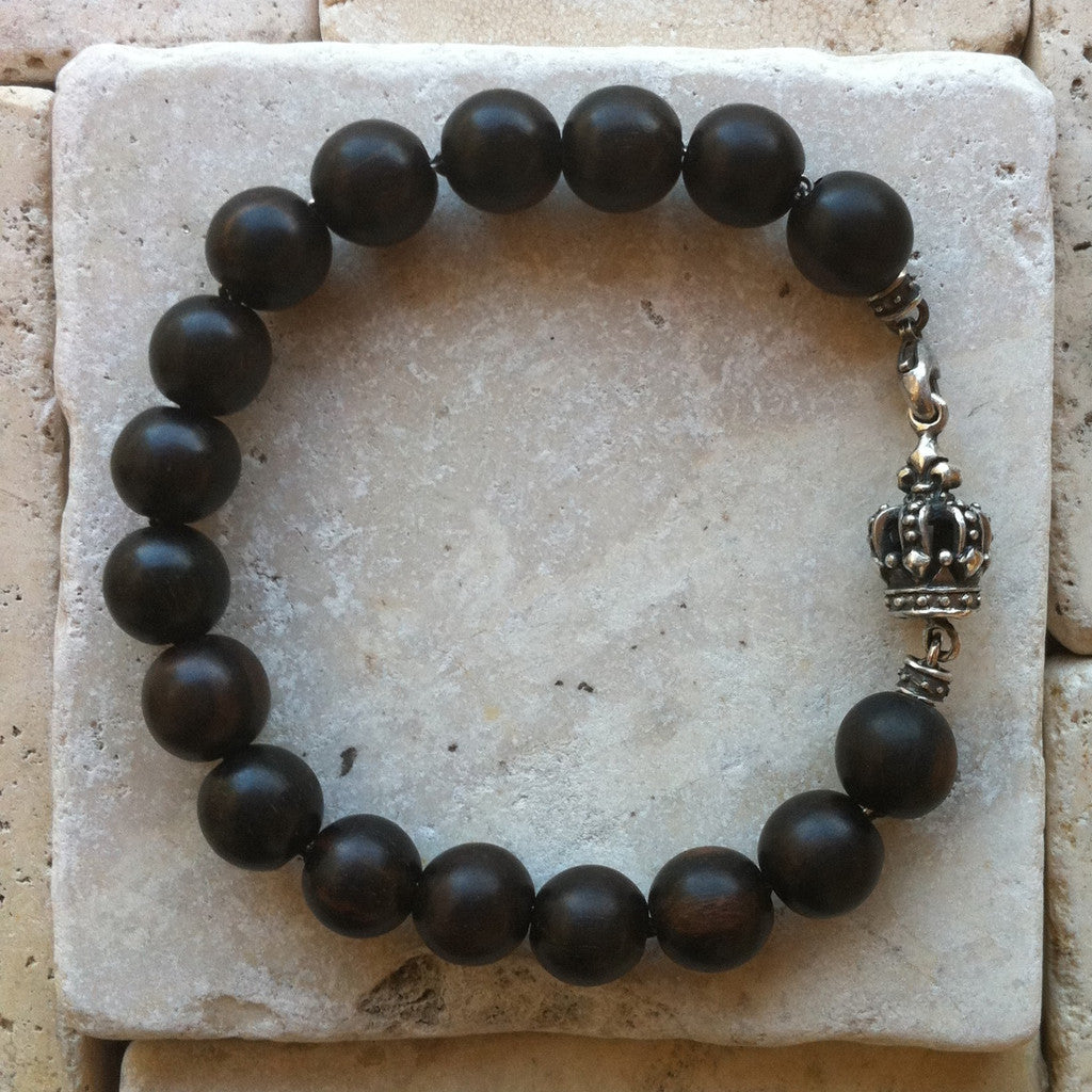 sterling silver jewelry crown with ebony wood beads