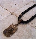 Necklace - Bronze Crowned Skull Dog Tag
