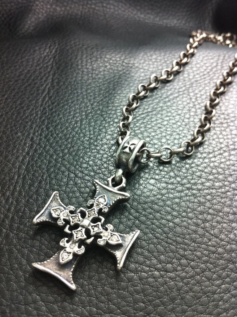 Sterling Silver Triple Cross Necklace with Champagne Diamonds