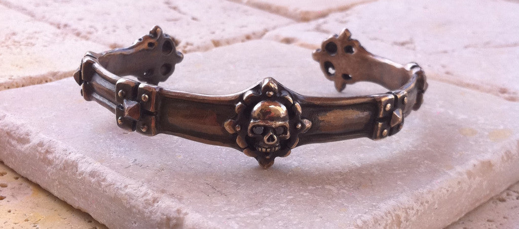 Bronze Skull Cuff with Black Diamonds by Roman Paul