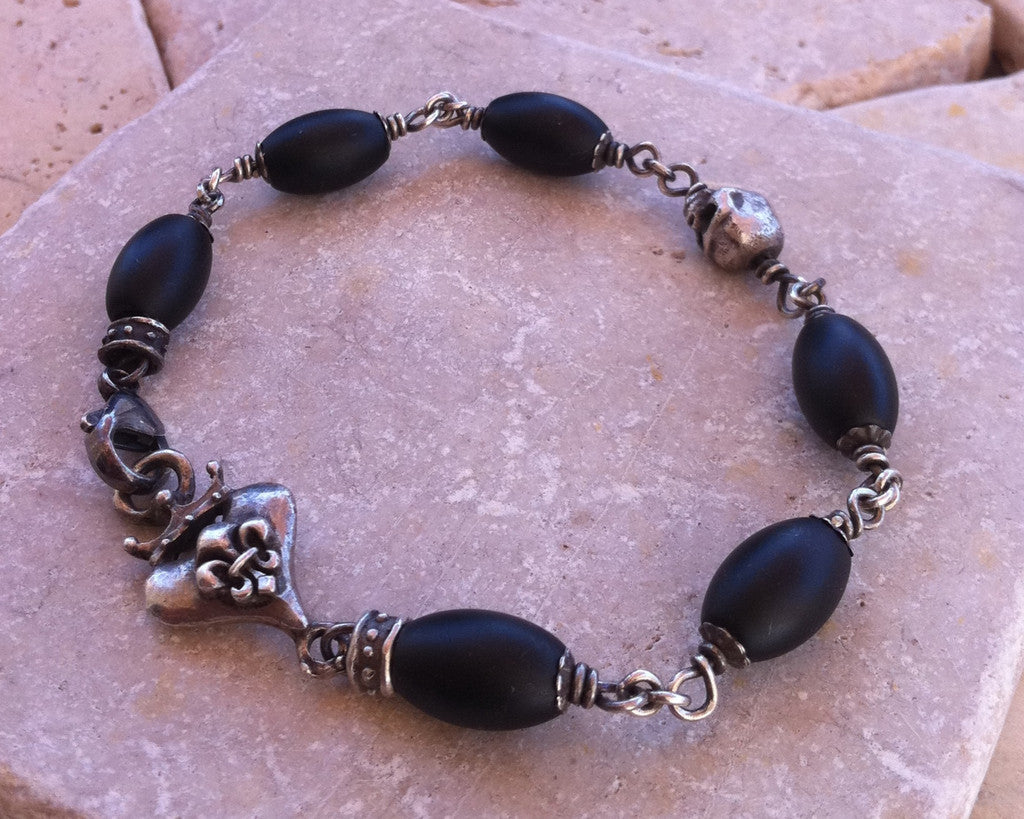 Sterling Silver Crowned Fleur De Lis Heart & Skull Bracelet with Oval Onyx Beads