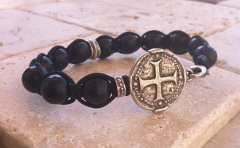 Sterling Silver Cross Coin Bracelet